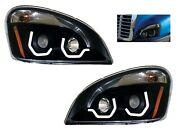 Pair Blackout Headlights W/ Led Position Lights For Freightliner Cascadia