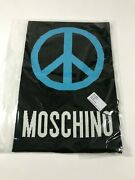 Aw17 Moschino Couture Jeremy Scott Wool Black Scarf With Blue Peace Sign
