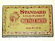 1926 Standard Red Face Dates Native America Indian Antique Tin Box Rubber Stamps