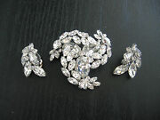 Signed Sherman Two Tier Swirl Clear Crystal Brooch And Earrings