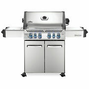 Napoleon Prestige 500 Grill On Cart With Infrared Rotisserie And Side Burner St