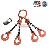 1/2 G100 Chain Sling 4-leg Clevis Sling Hook W/latch Qos Made In Usa