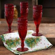 New Pioneer Woman Ruby Red Adeline 6oz Flutes - Set Of 4 - Embossed Wine Glasses