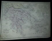 Map Geography Modern Greece And Archipel By Charles, Geographer 19th Siècle