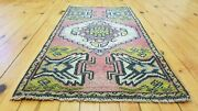 Primitive Antique 1900-1930and039swool Pile1and0397and039and039 X 3 And0391and039and039 Muted Dye Tribal Rug