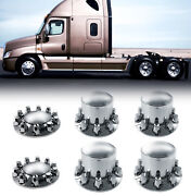 Chrome Semi Truck Hub Cover Wheel Kit Axle Cover 33mm Lug Front And Rear Complete