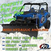 Kfi 66 Hydraulic Angle, Poly Plow Kit For Rzr 570 800 2008-18 Xp 900 2012-14
