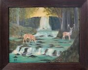 Deer In The Woods 16x20 Acrylic Painting Landscape Fantasy