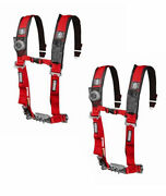 Pro Armor 5 Point Harness 2 Pads Seat Belt Red Pair Can Am Maverick X3 2021+