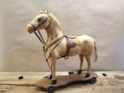 Vintage 1920's Horse With Real Hair On Platform Pull Toy