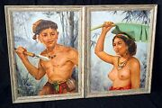 2x And03956 Philippines Oil Paintings Aboriginal Man And Woman By Oscar Navarro Ahb