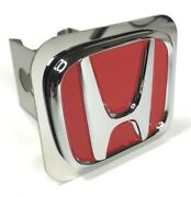 Red Honda Emblem Tow Hitch Cover Licensed Stainless Steel 1 1/4 Trailer Plug