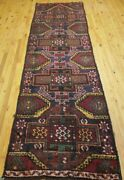 Primitive 1900-1930and039s Antique Wool Pile Natural Dye Herki Runner Rug 3andrsquox 10andrsquo3andrdquo