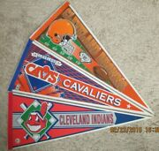 Vintage Cleveland Browns Cavaliers Indians Combo Pennant 12x30 Cavs No Pin Holes