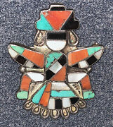 Exceptional V Early Zuni Attr. Leo Poblano Knifewing Pin Mosaic And Channel Inlay