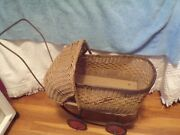 Vintage Wicker Doll Carriage-metal Wheels Wicker Design Project Condition