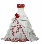 Plus Embroidery Wedding Dresses White/red Purple Vintage Satin Lace Bridal Gowns
