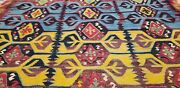Early 1900's Antique 5'4x12'7 Natural Dyes, Wool Kilim From Hotamis Region