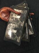 Lot 3 Antique Stereograph Photo Cards Courting Couple Wedding Humorous Perfec