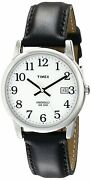 Timex Leather Strap Watch Classic Wrist Watches Men White Dial Indiglo Wr 30m