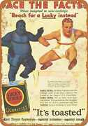 Metal Sign - Lose Weight With Lucky Strike Cigarettes - Vintage Look Re
