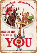 Metal Sign - Falls City Beer And Horse Racing - Vintage Look Reproduction