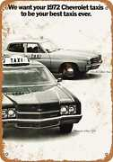Metal Sign - 1972 Chevrolet Taxi Cabs - Vintage Look Reproduction