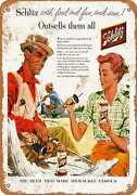 Metal Sign - 1956 Schlitz Beer And Fishing - Vintage Look Reproduction