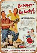 Metal Sign - 1951 Lucky Strike And Camping - Vintage Look Reproduction
