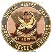 U.s. Navy Surface Rescue Swimmer - Sar - Handcrafted Wood Art Military Plaque