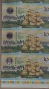 Australia 10 Bicentenary - Uncut Strip Of 4 Selvage Border Traffic Lights Rare