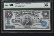 Us 1908 10 Tombstone Silver Certificate Fr 302 Pmg 35 Ch Vf -196
