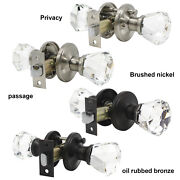 Crystal Glass Privacy Passage Door Knobs Handle Brushed Nickel Oil Rubbed Bronze