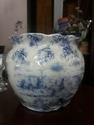 Antique Warwick Pottery Flow Blue Jardiniere As Is Planter White