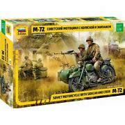Zvezda 3639 M-72 With Sidecar And Crew 2 Variant /soviet Heavy Motorcycle/ 1/35