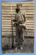 Rppc Nephew Wearing Civil War Veteranand039s Accoutrements- Enfield Rifle.