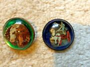 Antique Vintage Domed Glass Horse Bridle Rosettes - One Pin, 1 Rosette