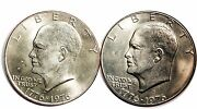 1776-1976 D Eisenhower Dollar Varieties Type 1 And Type 2 Lot Of 2 Coins