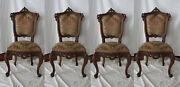 Antique Rococo Set Of 4 Tapestry Upholstered Highly Carved Dark Wood Chairs