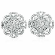 3.70ct Natural Round Diamond 14k Solid White Gold Stud Earring Screw Back