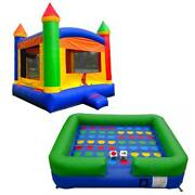 Pogo Premium Inflatable Rainbow Bounce House And Twister Game With Blowers And Dice