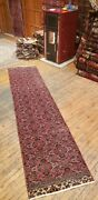 Beautiful 1930-1939and039s Antique Wool Pile Natural Dye Bunyan Runner Rug 2and0391 X 9and039
