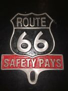 Route 66 Safety Pays Auto License Plate Frame Topper Classic Car Hotrod Ratrod