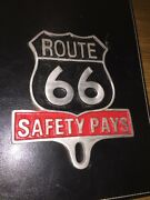 Route 66 Frame Topper Safety Pays Car Auto License Plate Fob Harley Davidson