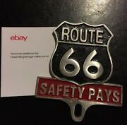 Route 66 Topper Frame Safety Pays Car Auto License Plate Fob Harley Hotrod Gift
