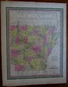 Arkansas State Steamboat Routes Shown 1845-50 Mitchell Scarce Fine Antique Map