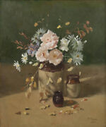 Pat Moran And039pastel Flower Bouquetand039 Original Oil Painting Signed + Framed