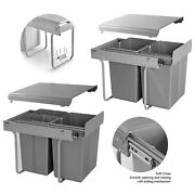 40l Kitchen Soft Close Pull Out Integrated Cabinet Bin Recycling Waste Dust Bins