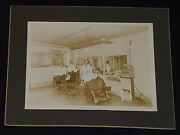 Antique - Staff And Client Posing In Barber Shop - Cabinet Photo