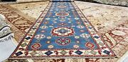 Masterpiece Vintage 1950-1960and039s Teal Blue 4x19ft Wool Pile Oushak Runner Rug